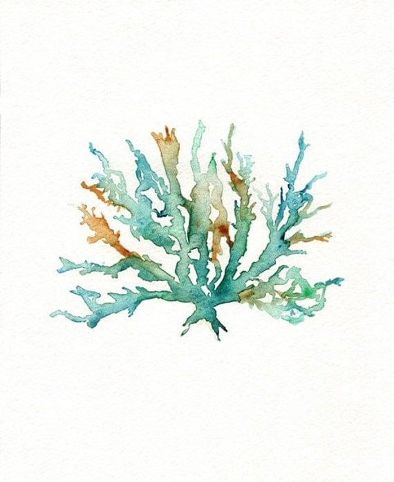 Bathroom Wall Art Canvas Artwork Nautical Coral Reef Ocean: Items Similar To No. 2 Sea Coral / Teal / Aqua / Yellow