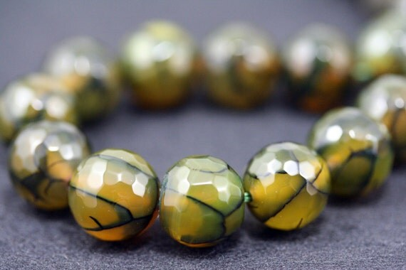 Natural Snake Skin Agate 12mm Faceted Round Beads Strand