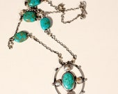 French Art Deco Sterling Pendant Necklace Turquoise Natural Pearls  Mother of Pearl 1930s Jewelry