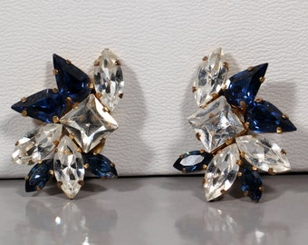 Vintage 80s Earrings Faceted Rhinestones Earrings Clip On Floral Earrings French Jewelry Signed Atelier CLAUDEN France