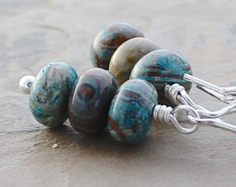 SALE Blue Stone Earrings: Aqua, Turquoise, and Chocolate Brown Bead Boho Chic Jewelry