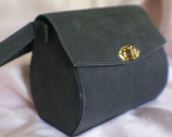 Unique Vintage Smokey Grey Suede Leather Box Purse