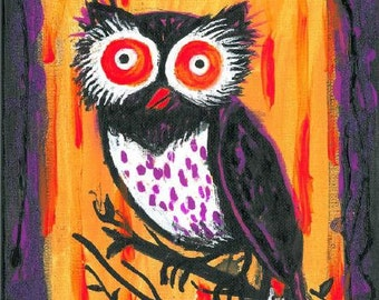 "Supernovae Original Art PRINT ""Halloween Owl"" Acrylic Painting FREE Shipping 8""x10"""