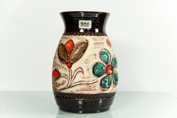 West German Vase Bay Keramik Brown Flowers Retro
