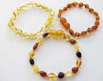 Baltic Amber Baby Teething Bracelets/Anklets Lot of 3