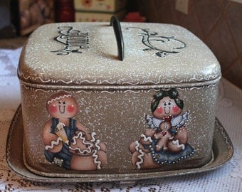 Gingerbread Cake Carrier Upcylce Vintage....Ginger Collector....Kitchen Decor...Country Kitchen...Country Home...Housewarming Gift
