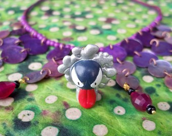 OOAK Awesome Silver Gastly Pokemon Necklace