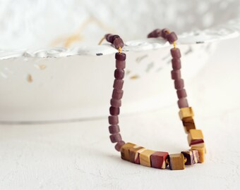 Mookaite Hand Knotted Silk Necklace in Aubergine & Ochre. A Chunky Gemstone Necklace in Adjustable Length