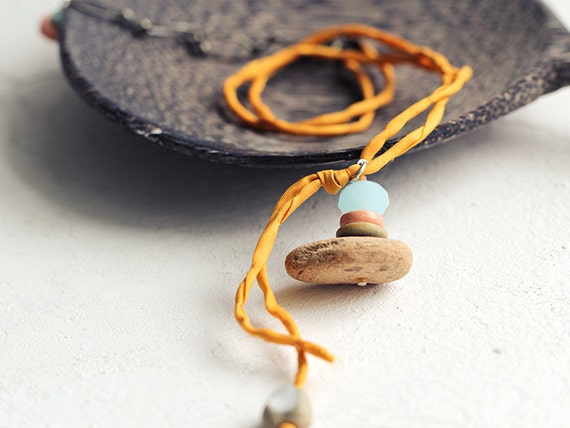 RESERVED for SHELLEY - Driftwood Necklace. Beaded driftwood pendant on saffron orange silk cord. Carefree, quirky, beachy, boho vibe