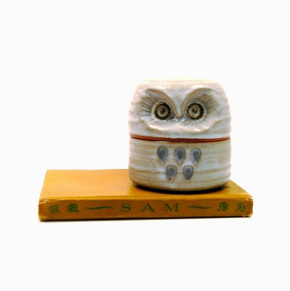 Ceramic Owl Box, Vintage 1970s Decorative Storage