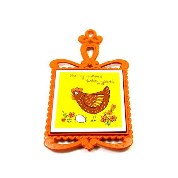 Kitsch Chicken Trivet, Vintage 1960s Cast Iron Chicken Decor