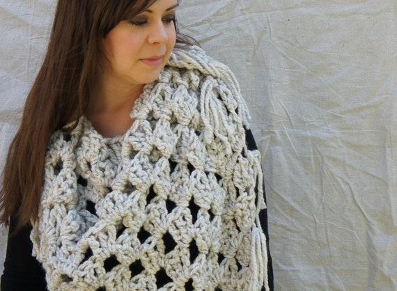Items similar to Chunky Crochet Shawl - Triangle Scarf ...