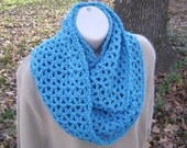 Crochet Cowl Infinity Scarf Mobius Blue Neck Scarf Men Women Teen