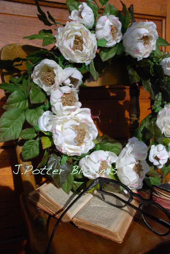 SaLe -Front Door Wreaths, Wedding Wreath, White Rose Wreath, Anniversary Wreath, Home and Living, Decor and Housewares, Anniversary Gift
