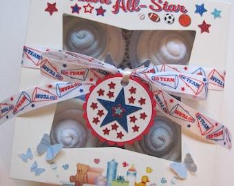 Baby Shower Gift Set Boy Diaper Washcloth and Socks 10 Piece Cupcake Set