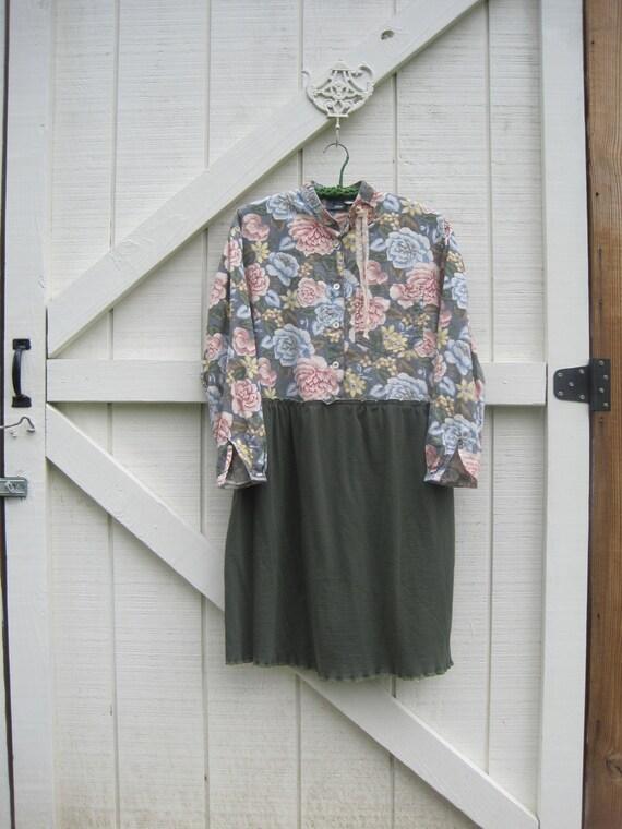 Boho ranch dress, Rustic shirt dress, shabby chic shirt dress med large upcycled eco friendlyReady to ship