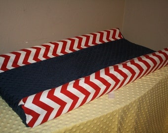 Deluxe Red Chevron Contour with Navy Minky Center Changing Pad Cover
