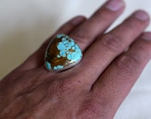 SOLD Royston Turquoise Hand Hammered Silver Ring SIZE 9