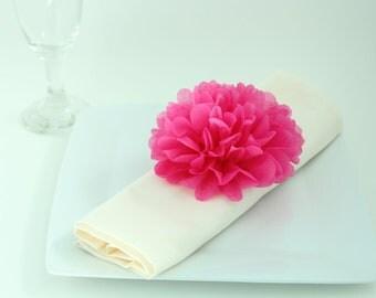 Bridal Shower Decor - 40 Tissue Paper Flower Napkin Rings - Pick Your Colors-  Table setting, wedding decoration, bridal shower