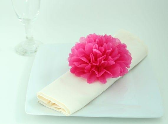 Wedding Decor - 40 Tissue Paper Flower Napkin Rings - Pick Your Colors-  Table setting, wedding reception, wedding decoration, bridal shower