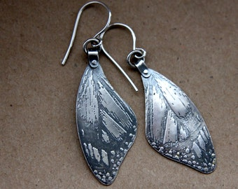 handmade silver etched butterfly specimen earrings