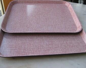 Vintage Set of 2 Pink BOLTA Trays