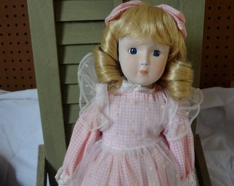 Gorgeous 1980s Blonde Hair Bisque Head Musical Doll - Made in Taiwan - REDUCED