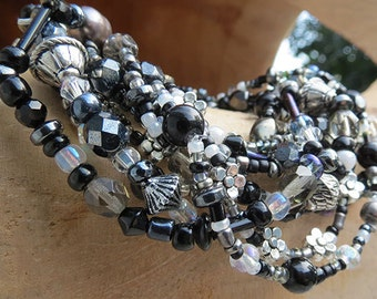 9 Strand Beaded Stretchy Bracelet - Black & Silver