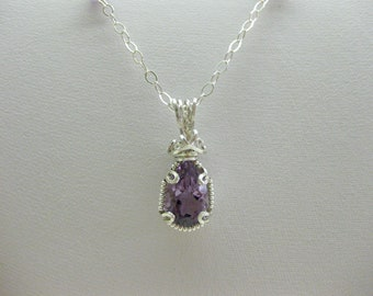 Wire Wrapped Amethyst Pendant on Sterling Silver Chain  - FREE SHIPPING