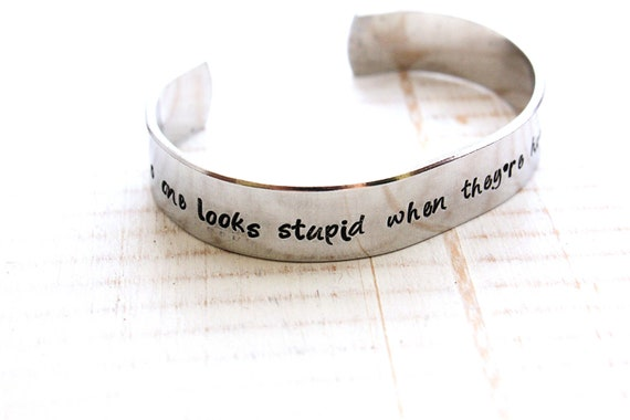 Hand stamped aluminum cuff bracelet - As gifted to Amy Poehler