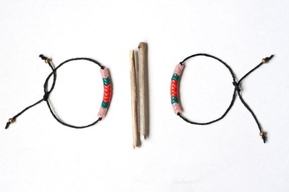 SALE, TWO friendship beaded bracelets, czech beads, pale pink, dark orange, green, black rope, brass beads