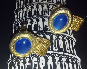 RAT PAK HOT Blue Moony Colored Sinatra Classic Gentleman's Cuff Links for Any Era...Classy Las Vegas Classic Wrap Mesh