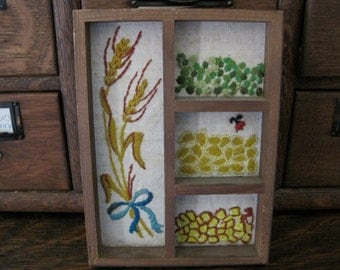 Vintage Framed Needlepoint Wheat and Grains Shadowbox Picture