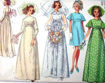 """Simplicity Dress Pattern No 8144 Vintage 1960s Size 12 Bust 34"""" Wedding Bridesmaid Empire Waist Prom Homecoming Short or Floor Length"""