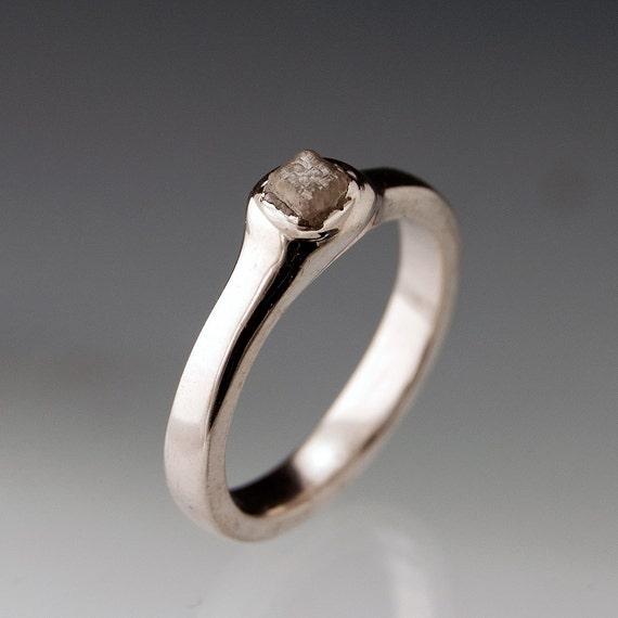 Rough Diamond Pebble Engagement Ring in Silver/Palladium, Modern Minimal Diamond Ring