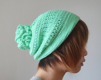 Crochet Hat for Women and Men, Mint Green Slouchy Hat, Pom Pom Hat, Hand Crocheted Women Hat, Unique Flower Pom, Winter Accessories
