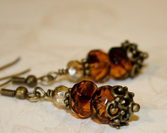 Brown earrings, Tortoise shell earrings, Brown Glass and Picasso Fire Polished Czech Glass Bead Earrings