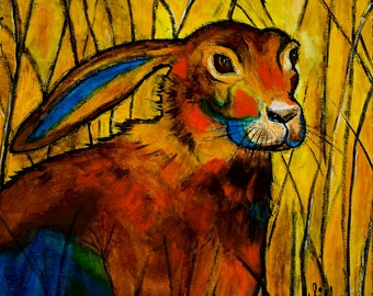 New Archival Print of my painting Pete, whimsical, Jack Rabbit, warm bright colors, size 12x12