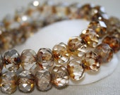 NEW 8 x 6mm . Czech Pressed Glass Rondells .  clear w yellowish brown picasso  . 12 beads