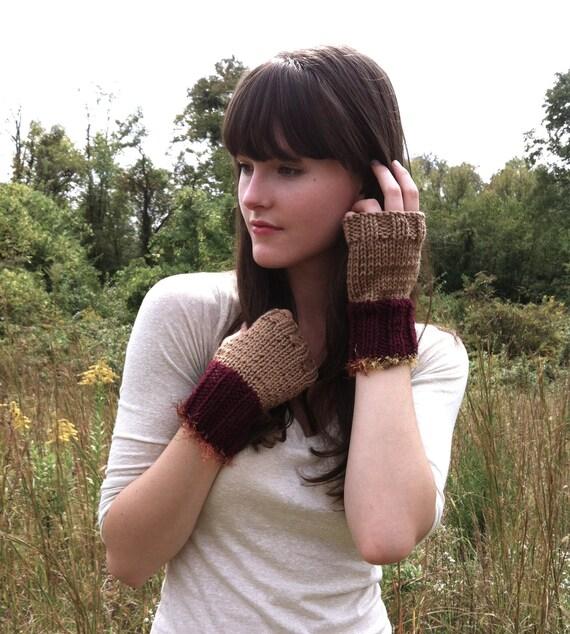 Beige & Burgundy Autumn Fingerless Mittens, Knitted with Fringe, Commuter Gloves
