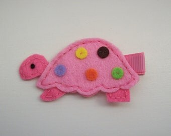 Girls Hair Accessories - Felt Hair Clips - Pink Felt Handmade Turtle Hair Clippie - Hair Clip Hair Clippie - Pink Turtle Retired Clearance