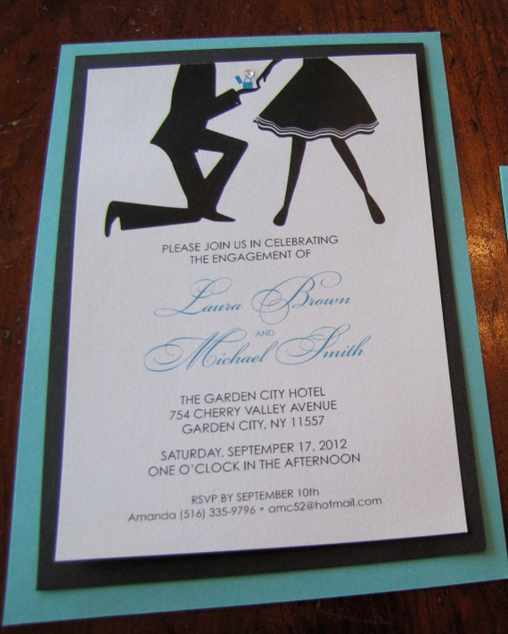 Items similar to breakfast at tiffany 39 s engagement party for Etsy engagement party invites