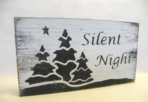 Silent Night Wooden Sign Christmas Quote Word Art Decoration