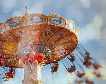 Carnival Photo, Kids Room Nursery Decor, Beach Boardwalk Photograph, Seaside Summer Photography, Carnival Ride - Spin