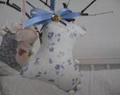 CLEARANCE SALE Shoe Old Fashioned Stuffed White Blue Flowered Blue Ribbon Pincushion Home Decor Ornament