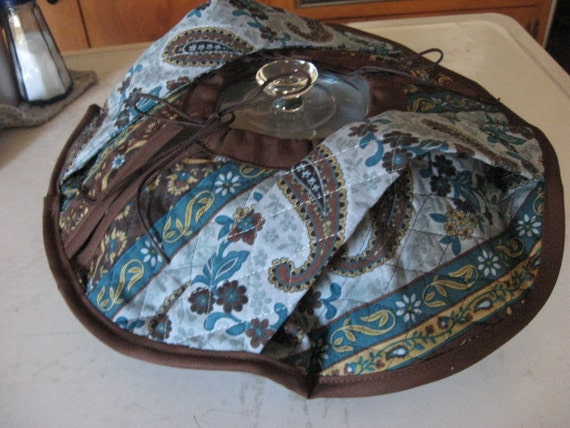 Casserole Carrier Round Double Sided Quilted Fabric Teal Blue