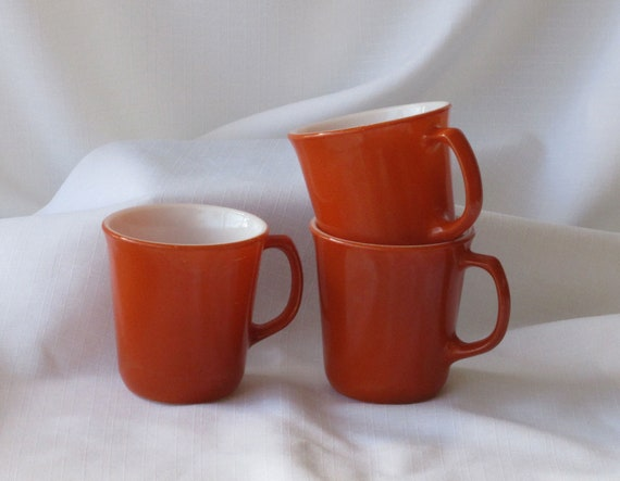 Three Burnt Orange Pyrex Mugs 1970 Era