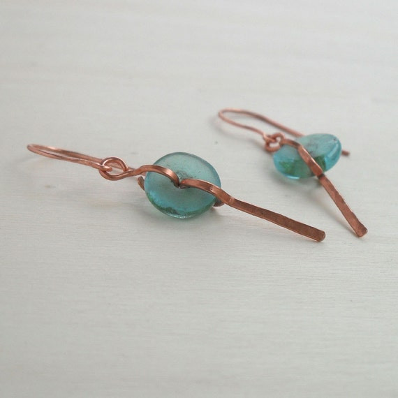 Hammered Copper Dangle Earrings Turquoise Recycling Glass Beads Wire Jewelry Handmade Minimalist Earings