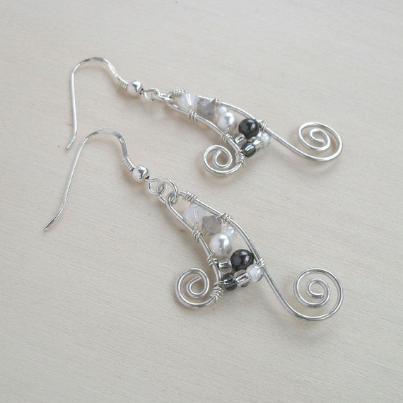 Sterling Silver Swirl Earrings Earings Swarovski Crystal Beads And Pearls White Grey Gray Dangle Wire Wrapped Jewelry Handmade