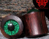 3/4 Green Eye Wood Ear Plugs, Hand Painted Eyes, Gauges, Wooden Plugs, Glass Gauges, Ear Gauges, Eye Plugs, Green Eyes, Pierced Eye Design